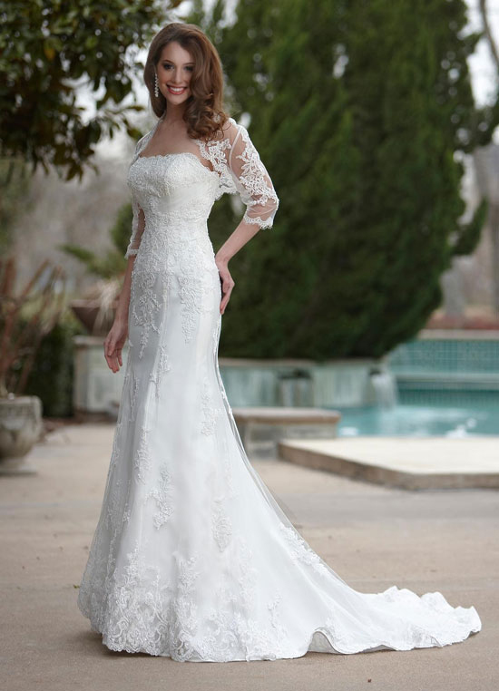 simple wedding dress with lace 3/4 sleeves