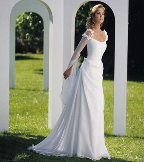 Chic photos of simple wedding dresses with sleeves sang for Wedding dresses with sleeves for sale