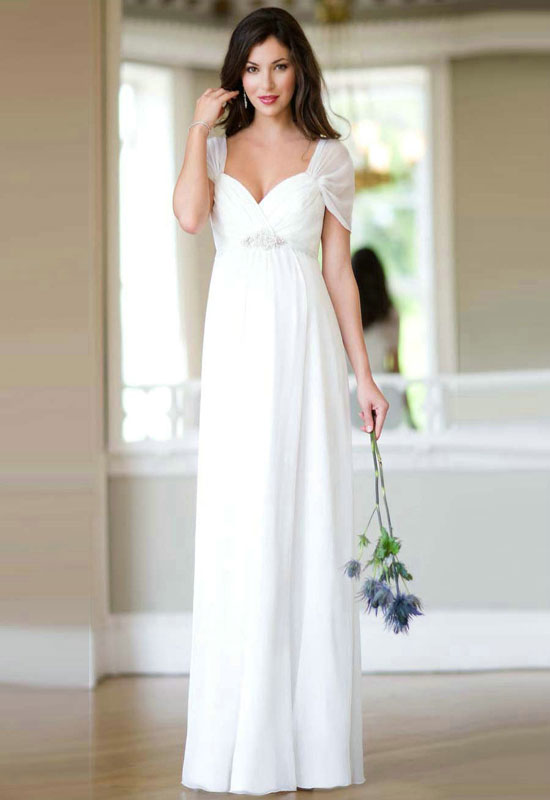 Chic photos of simple wedding dresses with sleeves sang for Simple white wedding dress