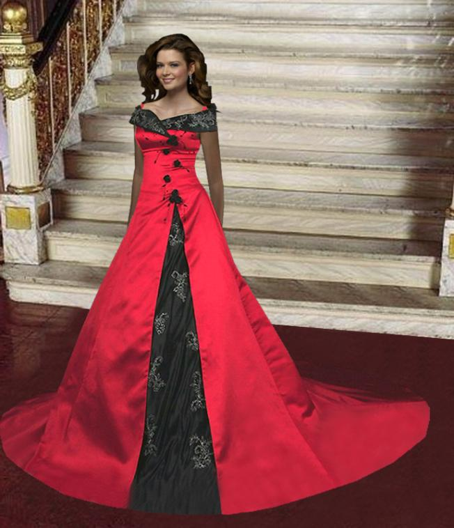 Stylish and sophisticated red gothic wedding dresses for Red and black wedding dresses