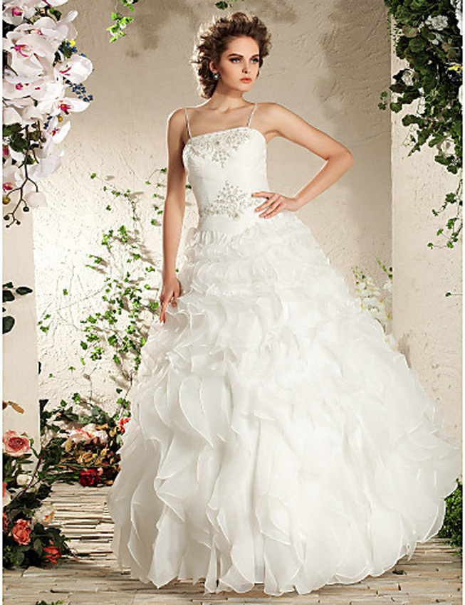 spring wedding dress with ruffles