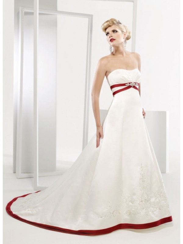 strapless red and white taffeta wedding dress