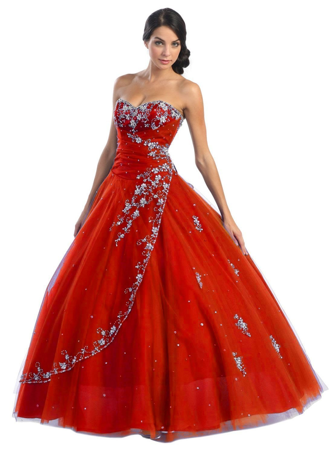 sweetheart neckline red ball gown wedding dress