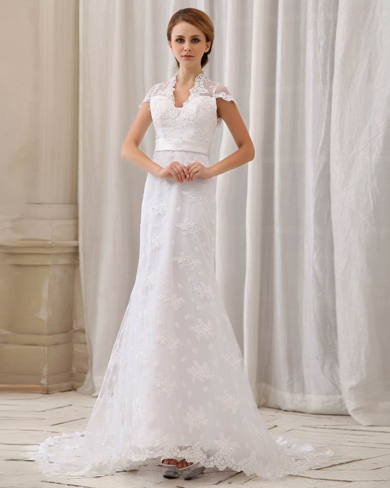 chapel train lace wedding dress with Mandarin collar