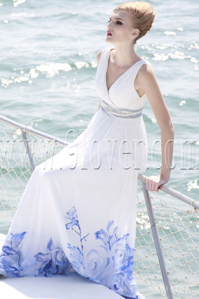 Above is a floor length colored v-neckline wedding dress for the beach    Colored Beach Wedding Dresses