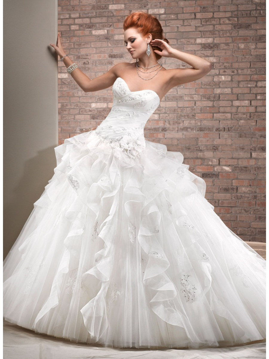 court train princess wedding dress with lace