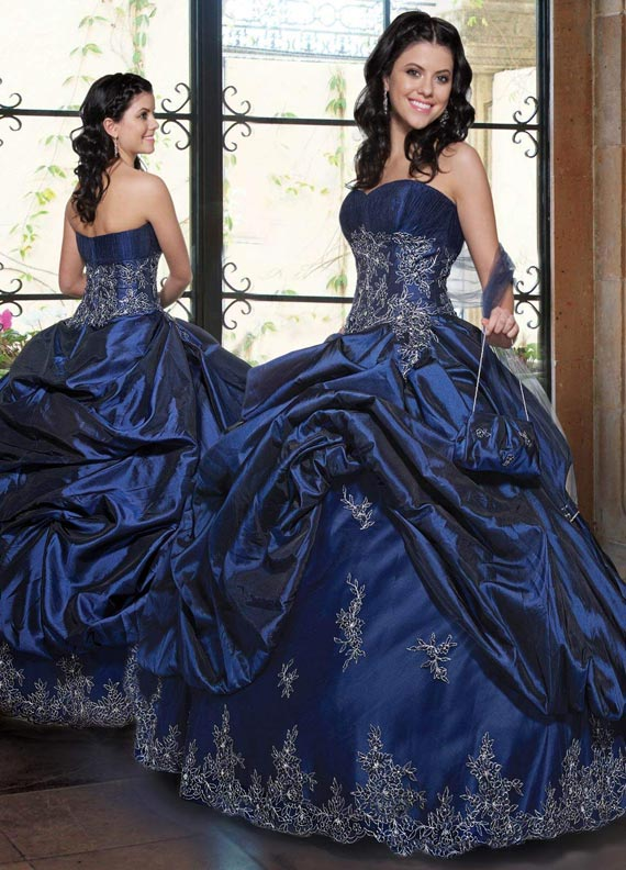 dark blue princess wedding dresses