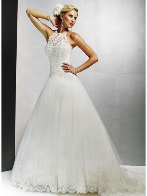 halter princess wedding dresses for elegant bridal look