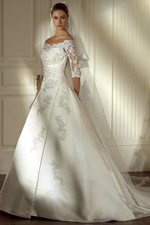 Ivory Princess Wedding Dress With Sleeves