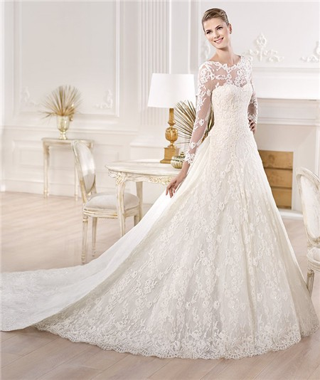 princess wedding dress with long sleeves
