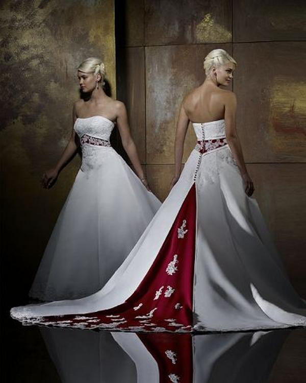 red colored wedding dress