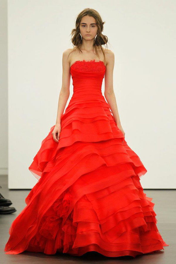 red princess wedding dress with ruffles