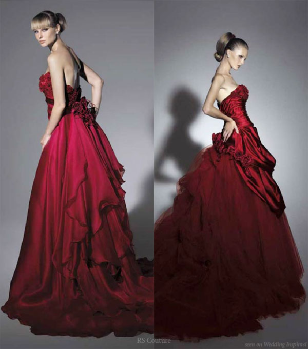 red strapless colored wedding dress