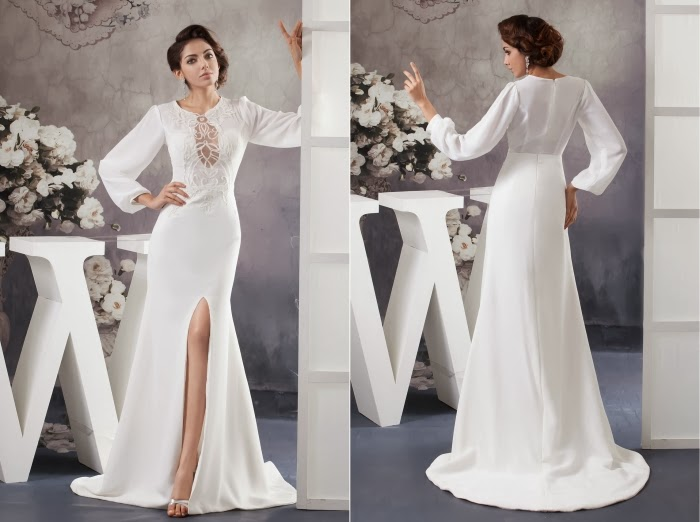 Simple colored wedding dress with long sleeves sang maestro for Long sleeve casual wedding dresses