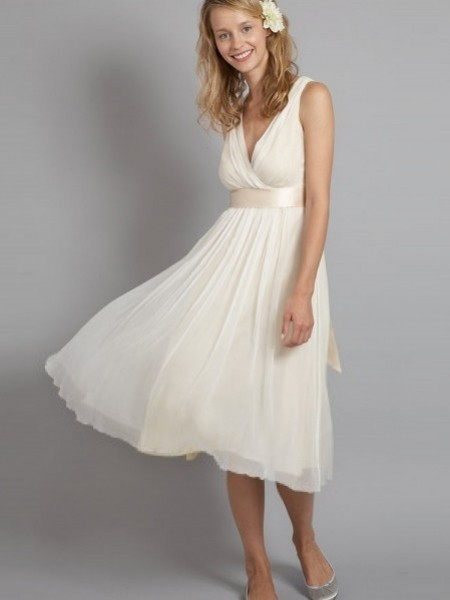 simple ivory knee length princess wedding dress with v neckline sang