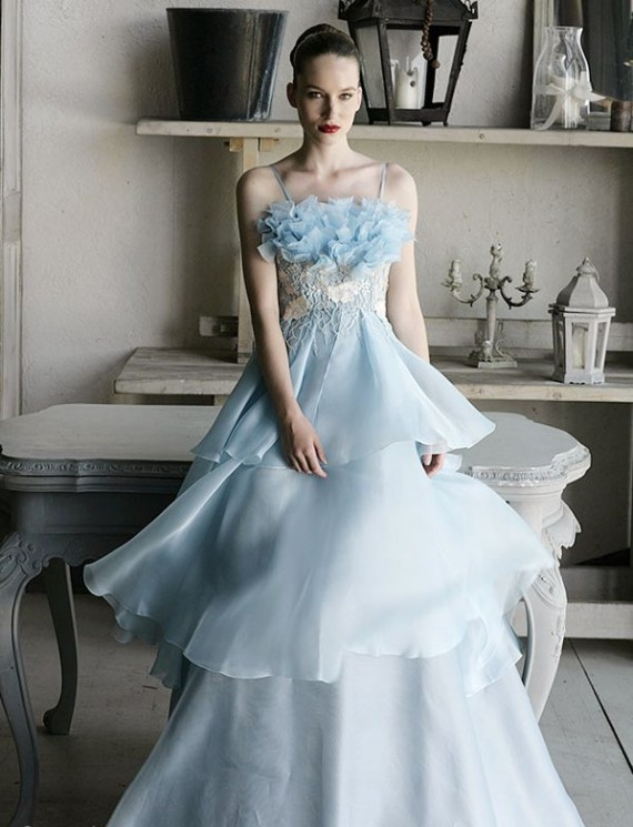 sleeveless wedding dress with a hint of blue