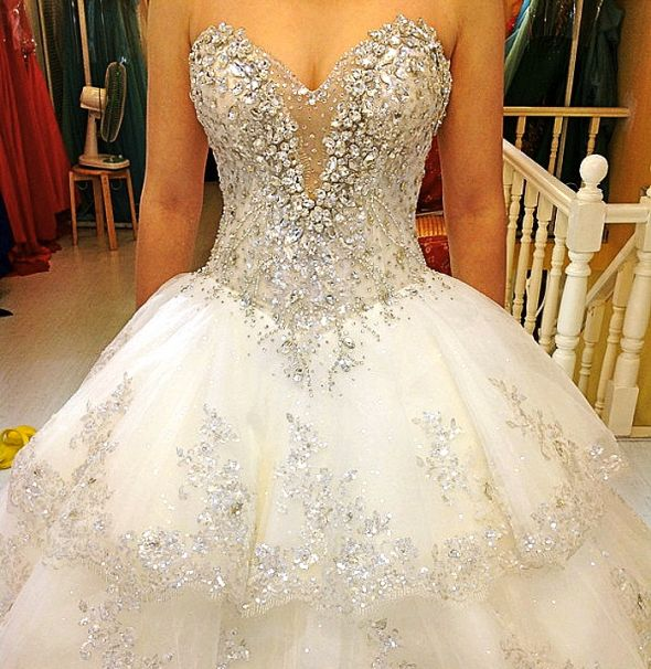 Sweetheart Wedding Dress With A Lot Of Bling