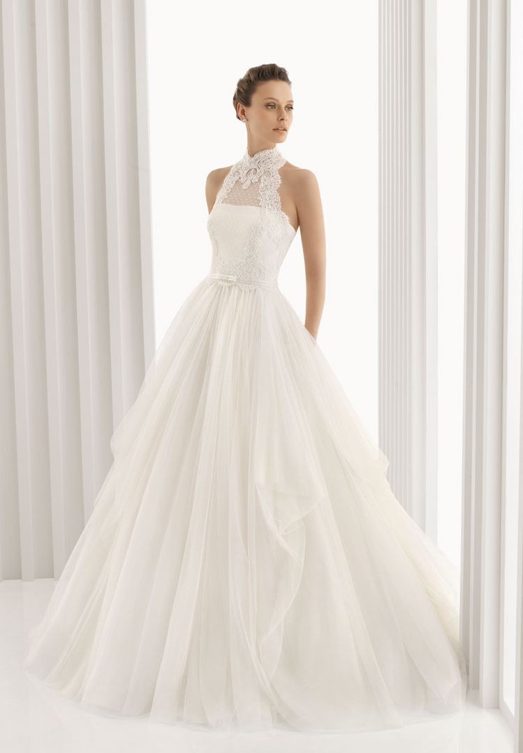 tulle lace a-line wedding dress with collar