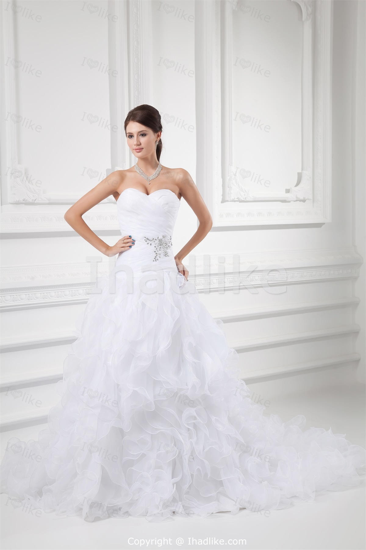 white princess sweetheart wedding dress with corset