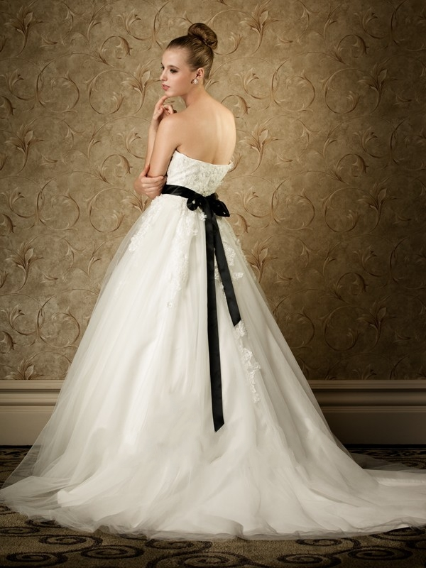 ball gown wedding dress with black sash