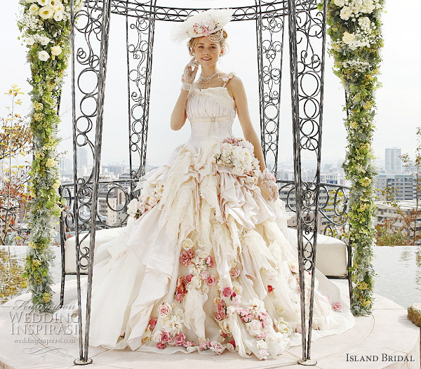 gorgeous ball gown wedding dress with flowers from Island Bridal