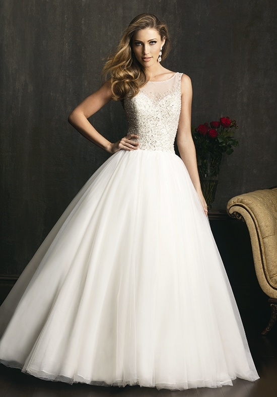 illusion boat neckline wedding dress with ball gown silhouette