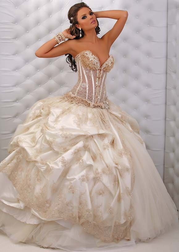 Sexy sweetheart ball gown wedding dress with gold beading for Beading for wedding dress