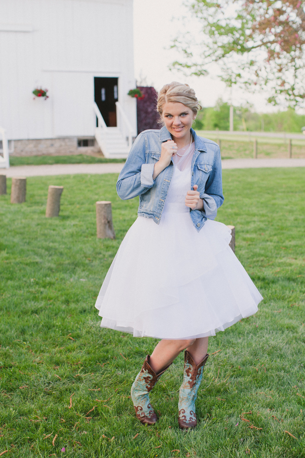 short ball gown white wedding dress with denim jacket
