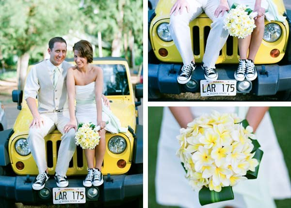 short strapless white wedding dress with black converse