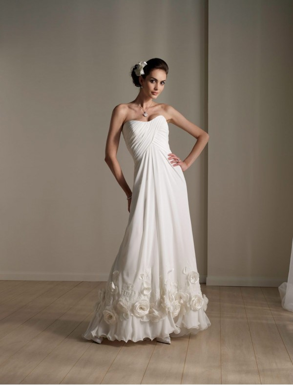 simple strapless a-line wedding dress with flowers