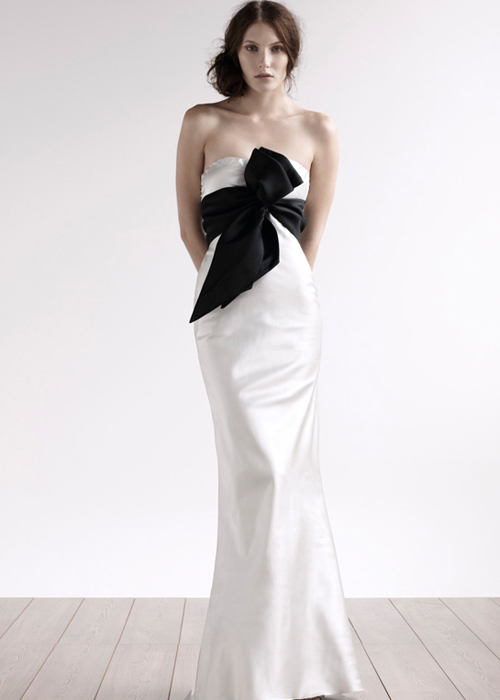 strapless a line wedding dress with black belt sang maestro
