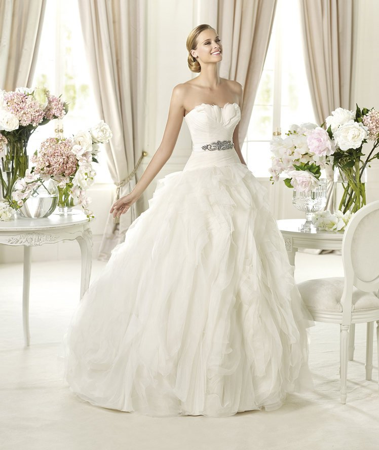 strapless ball gown wedding dress with feathers