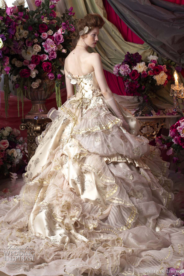 wedding dress with gold beading by Stella De Libero