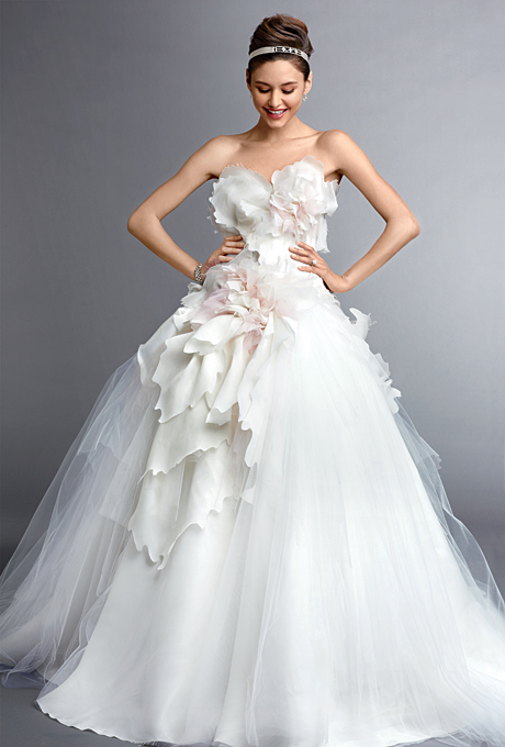 Bridal Gowns With Flowers : White ball gown wedding dress with floral accent sang