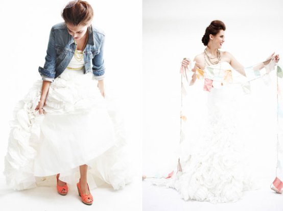white wedding dress with denim jacket