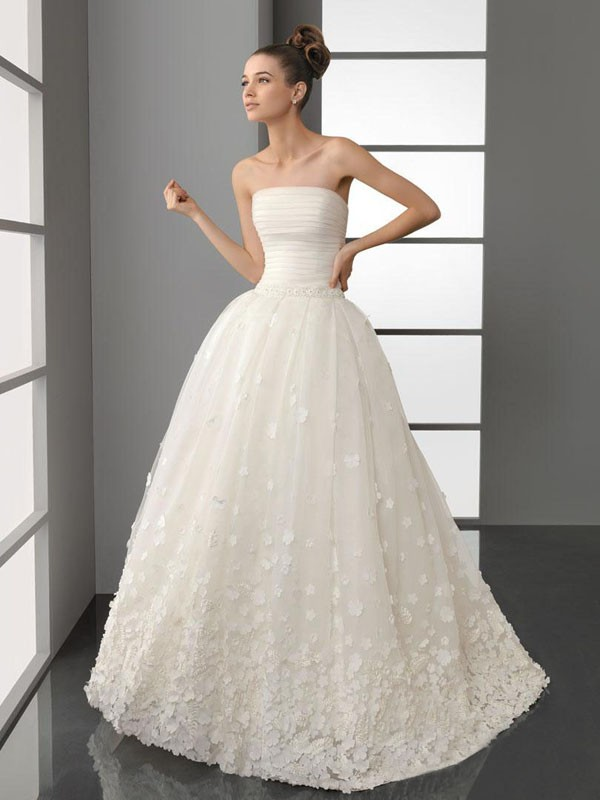 wonderful ball gown organza wedding dress with flowers at the bottom ...