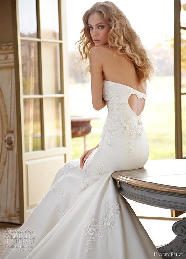 Hayley paige strapless wedding dress with heart on back for Hayley paige wedding dress
