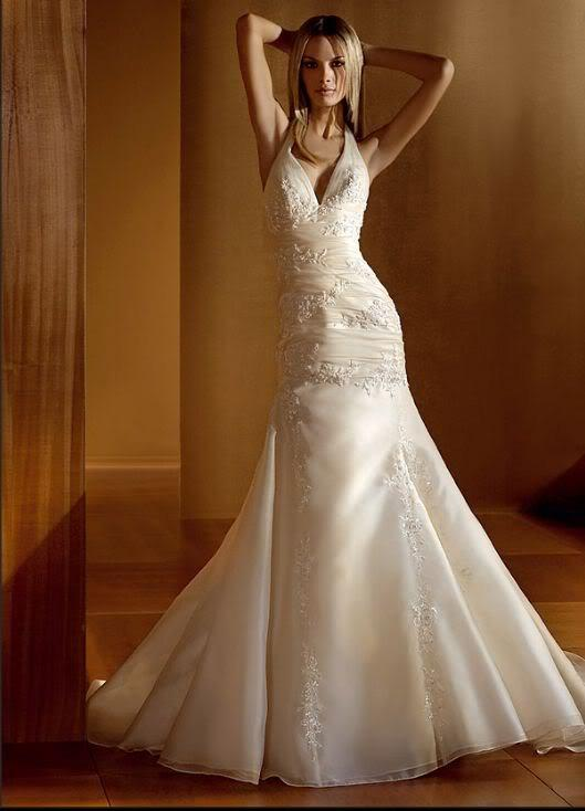 a-line lace wedding dress with halter top