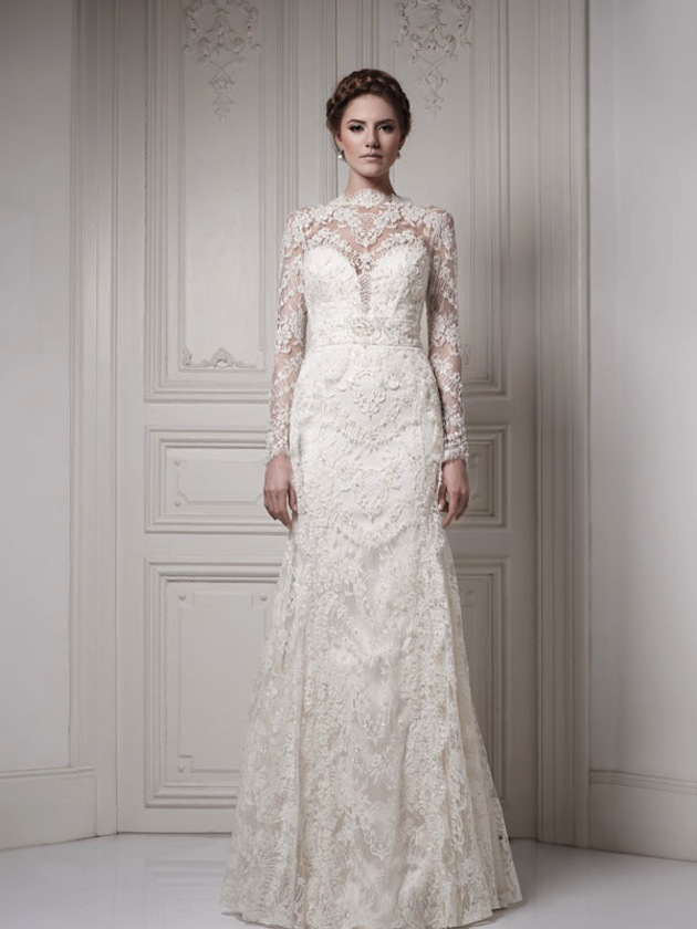 a-line silhouette wedding dress with long lace sleeves