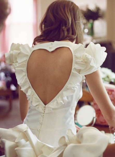 ball gown wedding dress with heart on  back