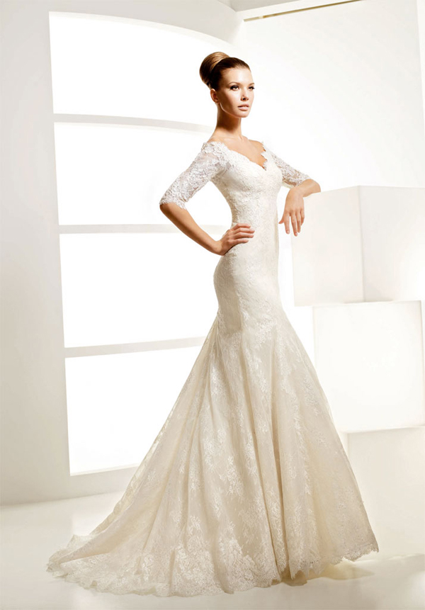 Elegant mermaid v neckline lace wedding dress with half for Wedding dresses with half sleeves