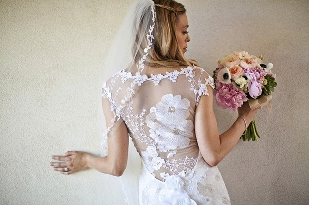 floral illusion back wedding dress