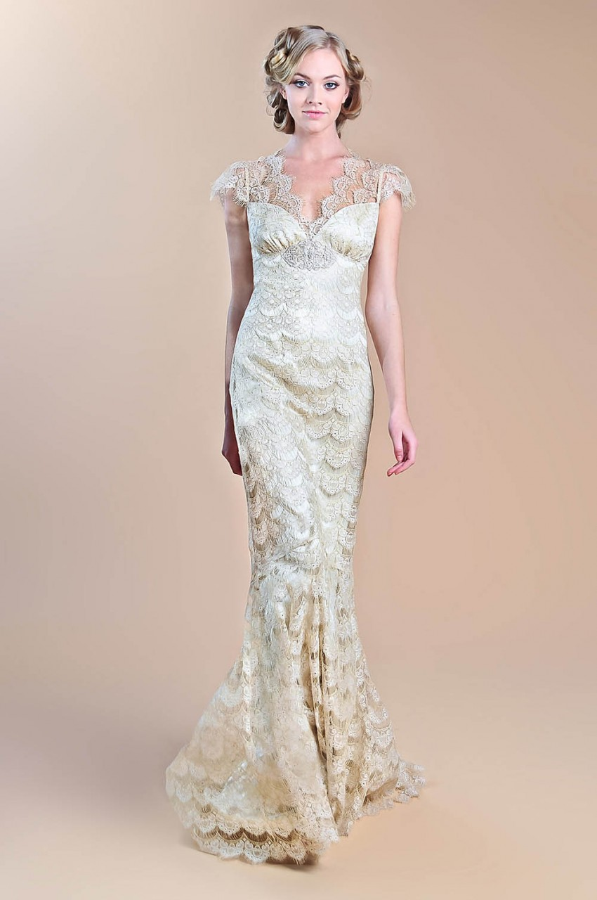 gold lace mermaid wedding dress with cap sleeves