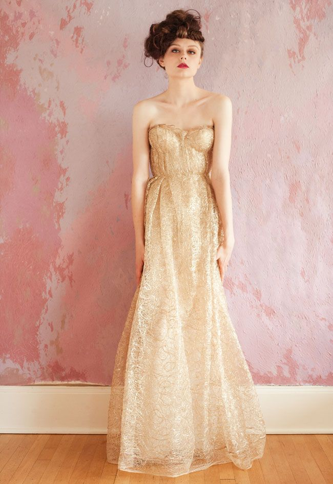 gold lace sweetheart wedding dress with a-line silhouette