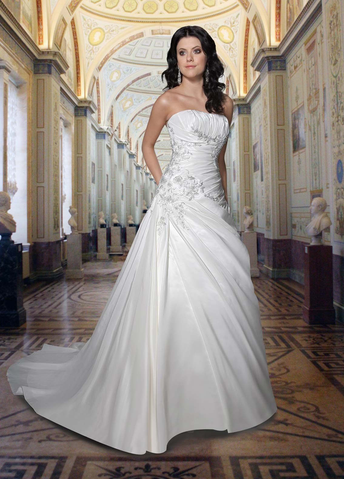 Gorgeous a line strapless white wedding dress with sweep for Strapless wedding dresses with long trains