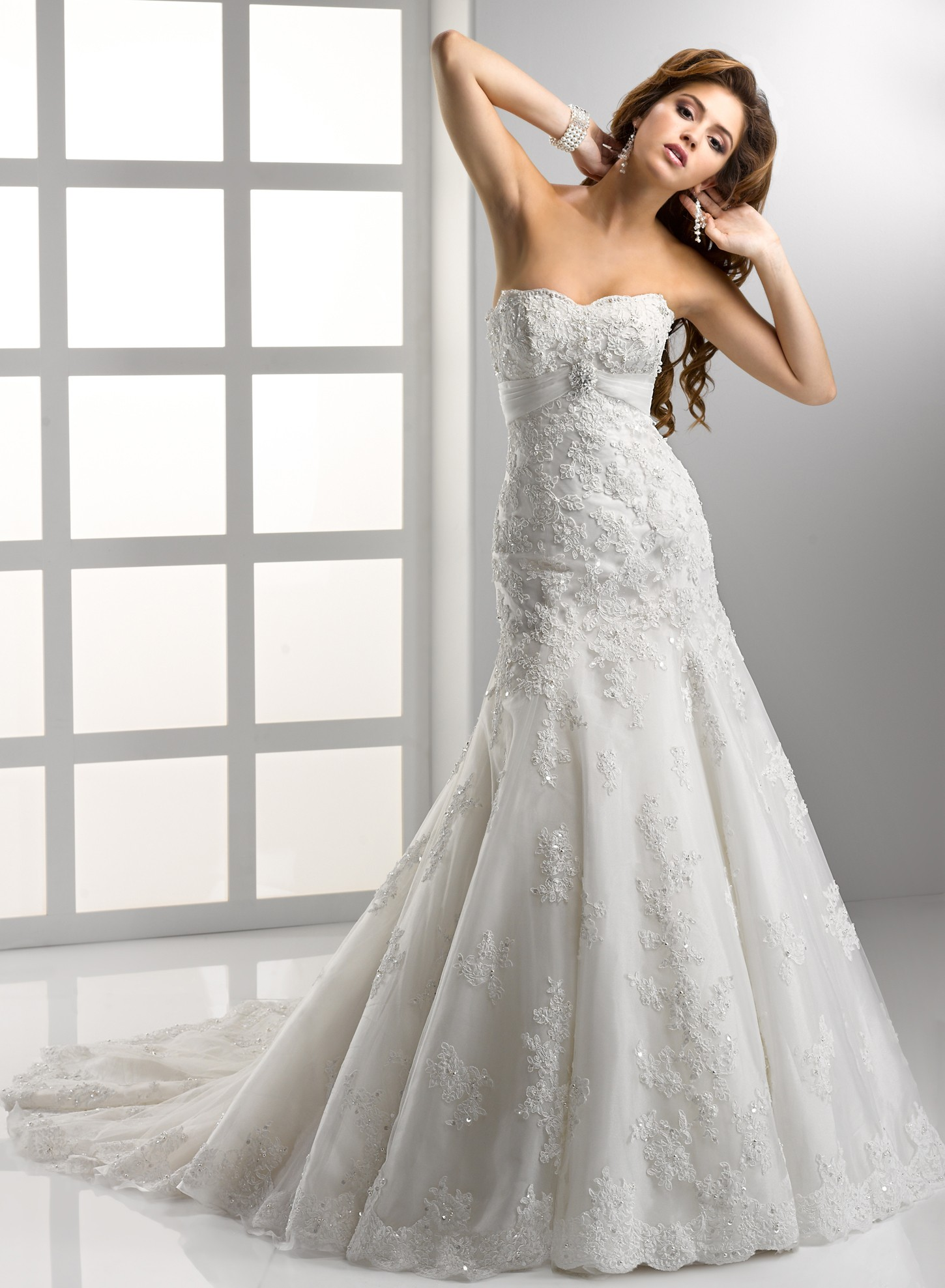 gorgeous embroidered strapless wedding dress.