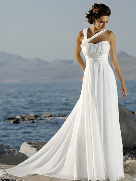 gorgeous empire sheath chiffon wedding dress