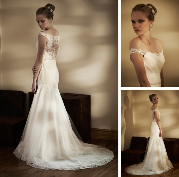 ivory illusion back lace wedding dress
