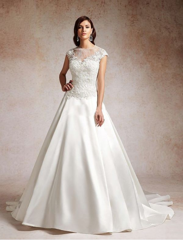 satin and lace a-line wedding dress with illusion neckline
