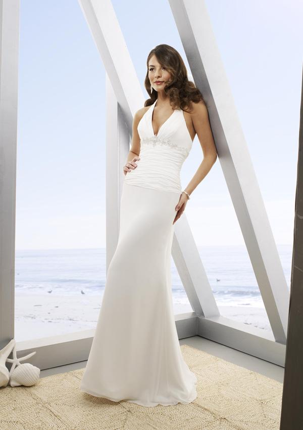simple white wedding dress with halter top
